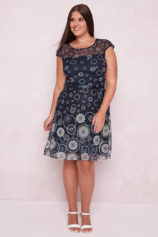 PAPRIKA Navy & Multi Lacy Circle Pattern Dress With Satin Waist Tie
