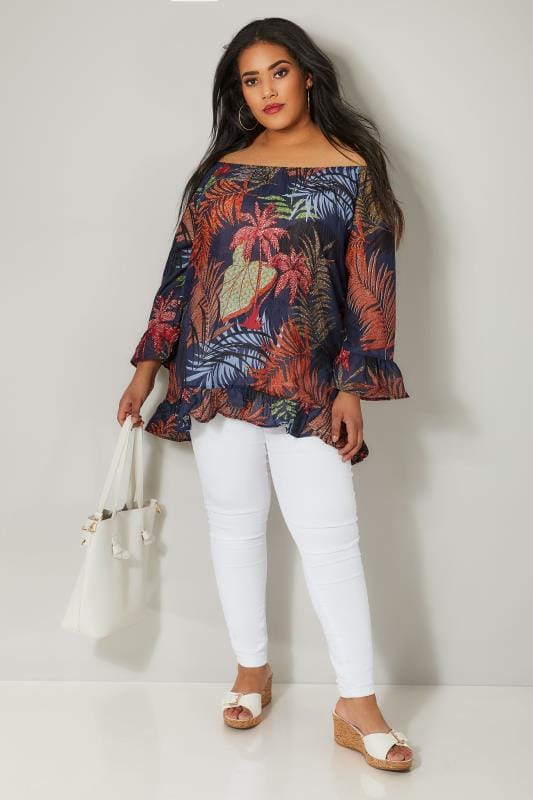 PAPRIKA Navy & Multi Palm Leaf Print Top With Flute Sleeves
