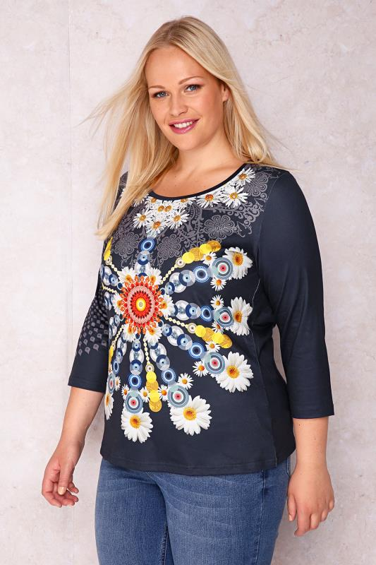 PAPRIKA Navy Sleeved Top With Colourful Daisy Print