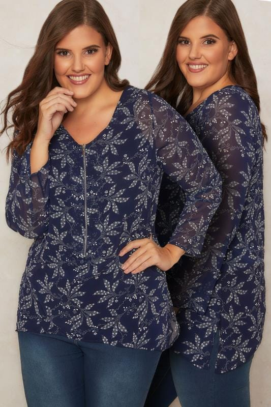 PAPRIKA Navy & White 2 In 1 Leaf Print Blouse & Cami Top