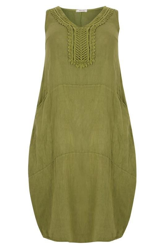 PAPRIKA Olive Green Linen Dress With Crochet Trim