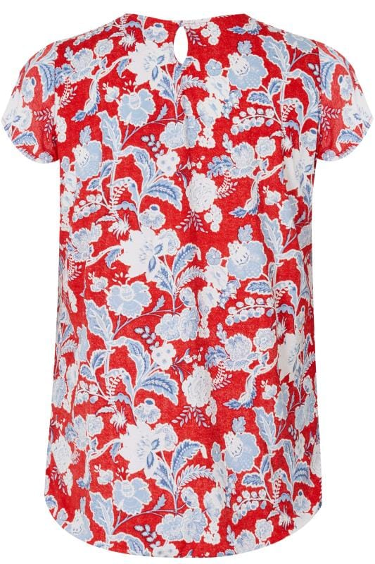 PAPRIKA Red & Blue Textured Floral Print Top With Keyhole Opening