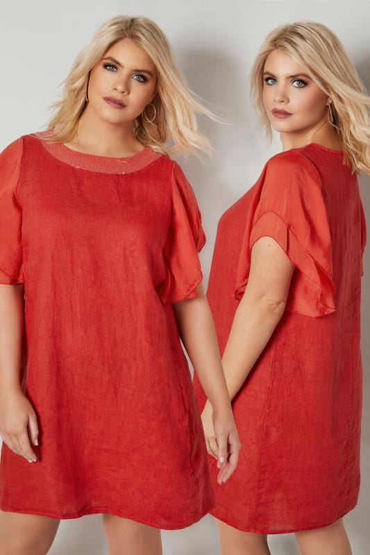 Plus Size Swing Dresses PAPRIKA Red Dress With Tiered Sleeves & Sequin Neckline