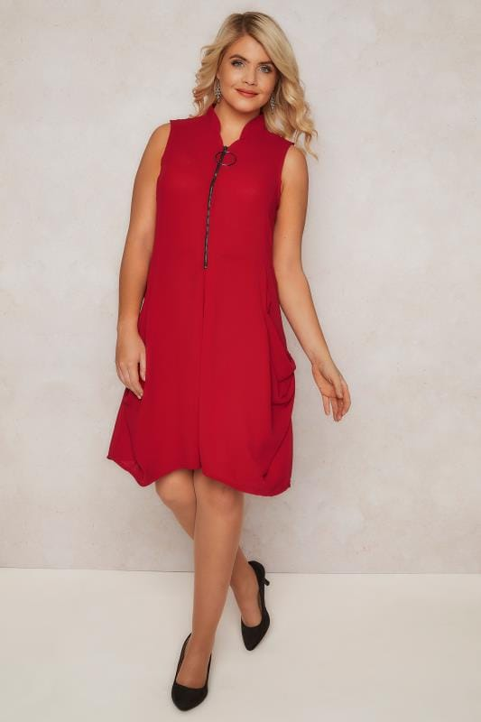 PAPRIKA Red Front Zip Through Tunic Dress With Drape Fabric Detail