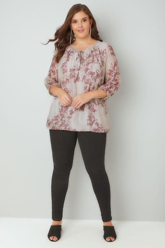 PAPRIKA Taupe Floral Print Top With Sequin Embellished Tie Neckline