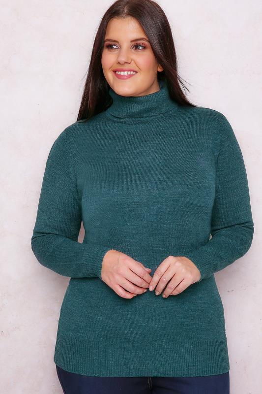 PAPRIKA Teal Roll Neck Knitted Jumper