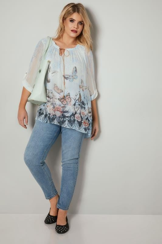 PAPRIKA White & Blue Butterfly Embellished Chiffon Blouse