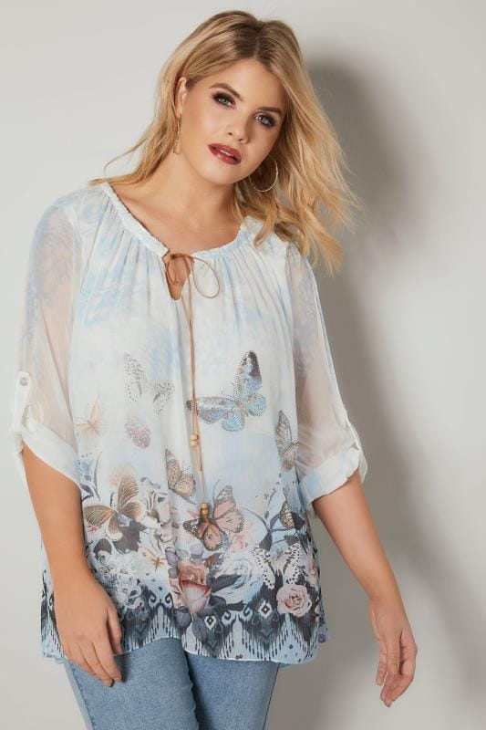 Plus Size Blouses & Shirts PAPRIKA White & Blue Butterfly Embellished Chiffon Blouse