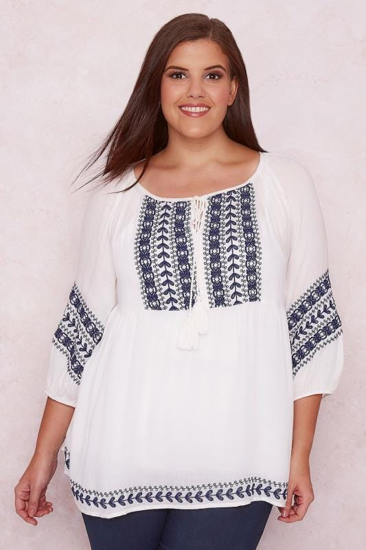 PAPRIKA White & Blue Embroidered Smock Top With Tassel Tie