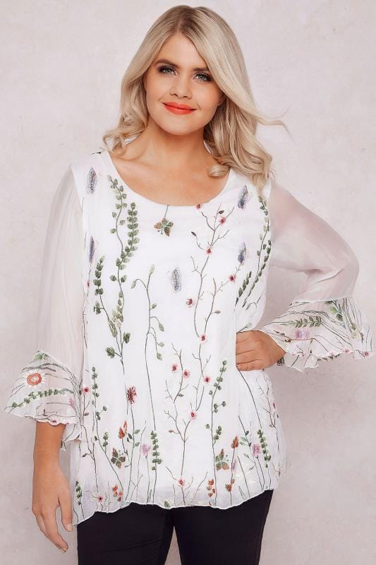 PAPRIKA White Floral Embroidered Top With Flute Sleeves