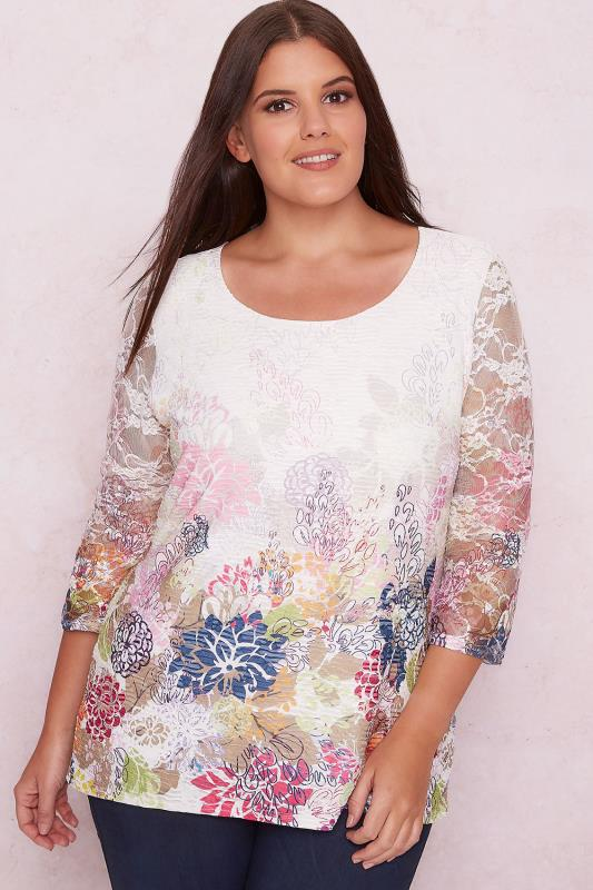 PAPRIKA White & Multi Bright Floral Print Ribbed Top With Lace Sleeves