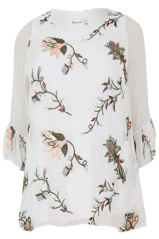 Plus Size Blouses PAPRIKA White & Multi Floral Embroidered Blouse With Flute Sleeves