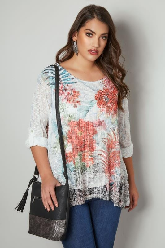 Plus Size Day Tops PAPRIKA White & Multi Floral Print Double Layer Top With Mesh Front & Sequin Detail