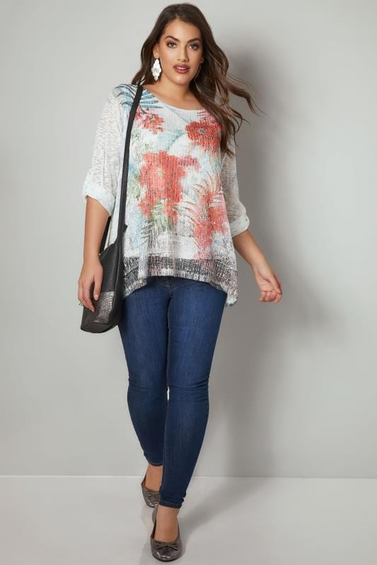 PAPRIKA White & Multi Floral Print Double Layer Top With Mesh Front & Sequin Detail