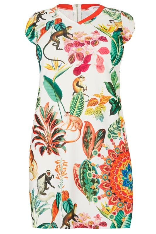 PAPRIKA White & Multi Jungle Print Swing Dress