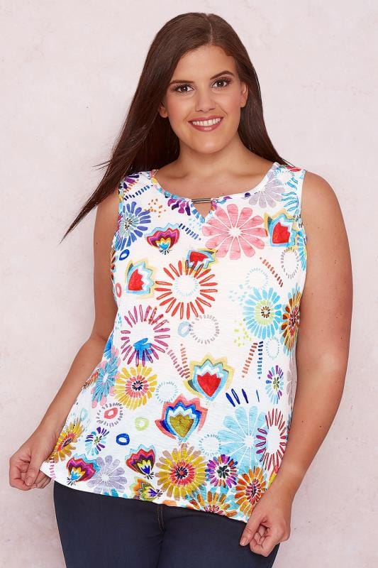 PAPRIKA White & Multi Mixed Print Sleeveless Top With Metal Trim