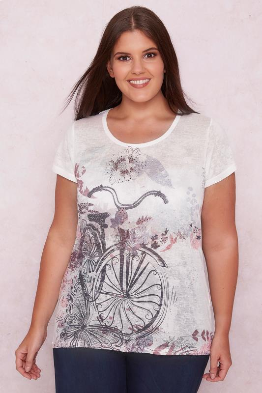 PAPRIKA White & Purple Bicycle Top With Lace Panel & Diamante Embellishment