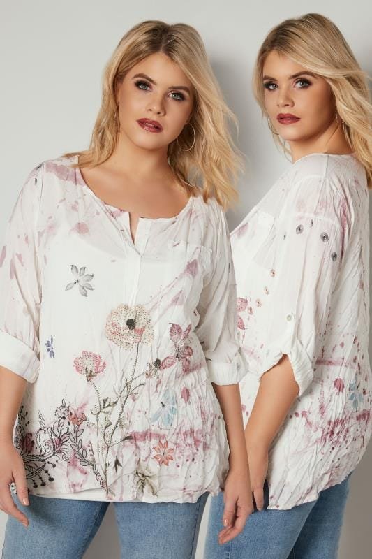 Plus Size Blouses PAPRIKA White Watercolour Floral Embellished Crinkle Blouse