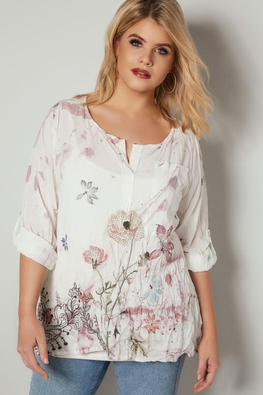 PAPRIKA White Watercolour Floral Embellished Crinkle Blouse