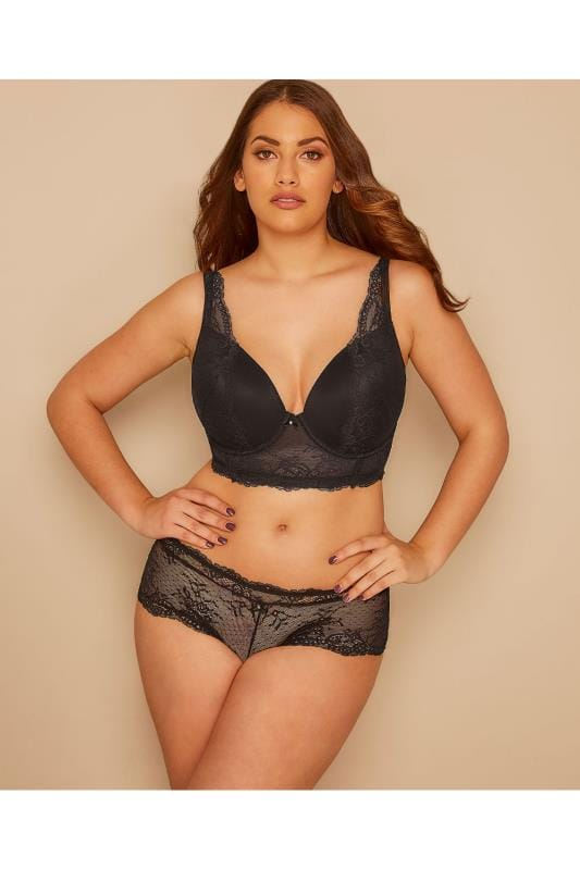 PARFAIT Black Underwired Sandrine Plunge Bra With Lace Detail