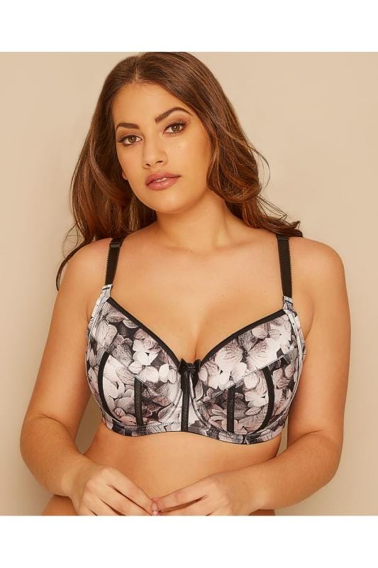 Plus Size Padded Bras PARFAIT Grey Floral Print Underwired Charlotte Bra With Moulded Cups