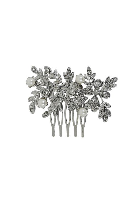 Plus Size Hair Accessories Silver Pearl & Diamante Hair Slide In Leaf Design
