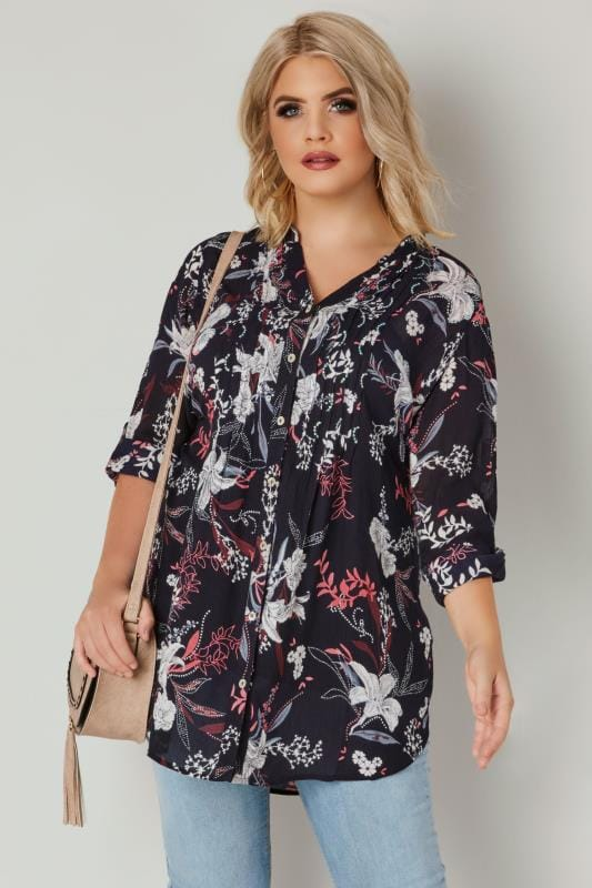 Plus Size Blouses & Shirts Navy & Pink Floral Pintuck Longline Blouse With Sequin Detail