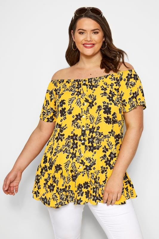 Plus Size Bardot & Cold Shoulder Tops Yellow Floral Gypsy Bardot Top