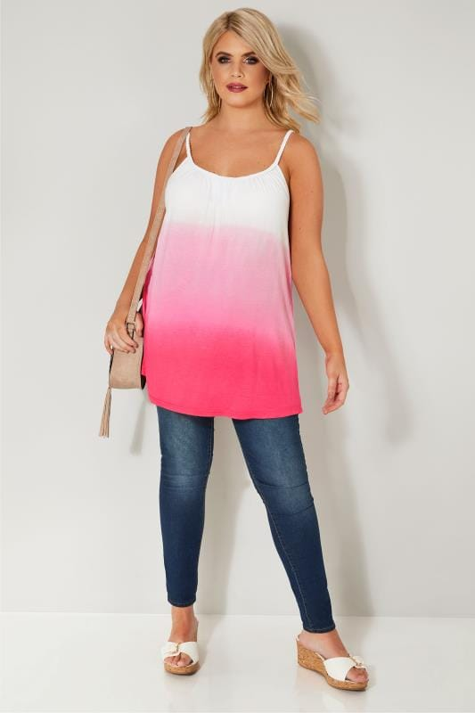 Pink & White Ombre Effect Swing Vest Top With Plaited Straps