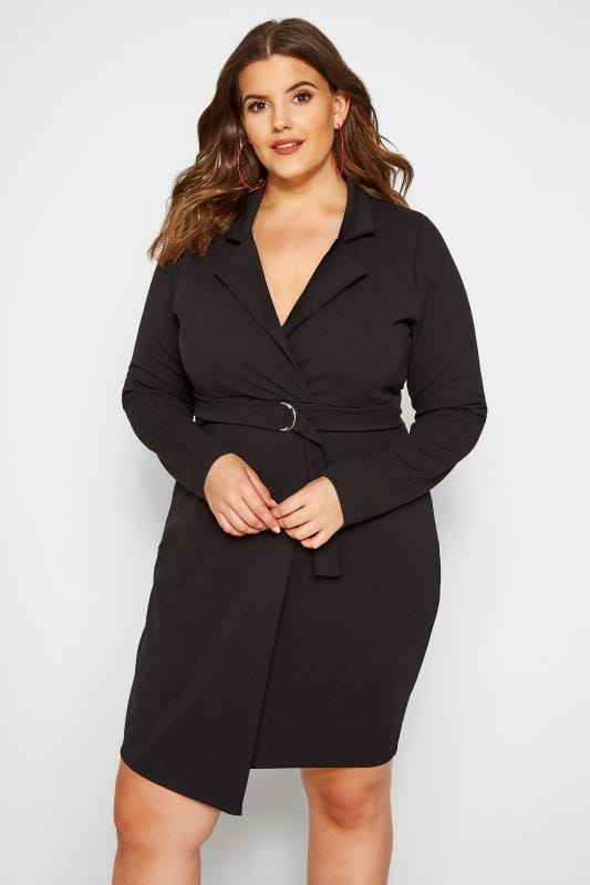 Plus Size Going Out Dresses PRASLIN Black Belted Blazer Dress