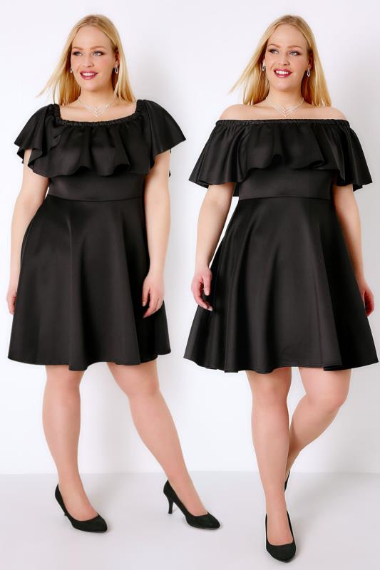 PRASLIN Black Frill Bardot Skater Dress