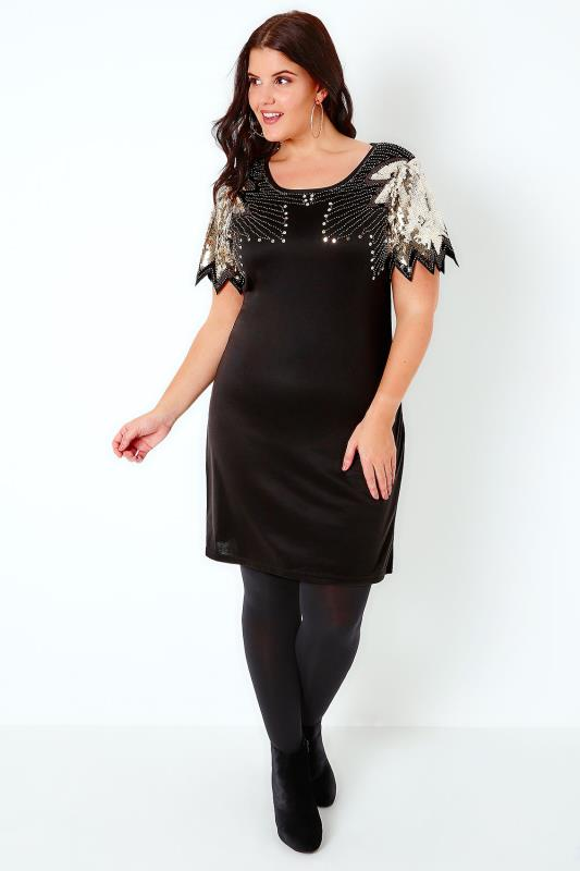 PRASLIN Black & Gold Shift Dress With Sequin Shoulder Detail