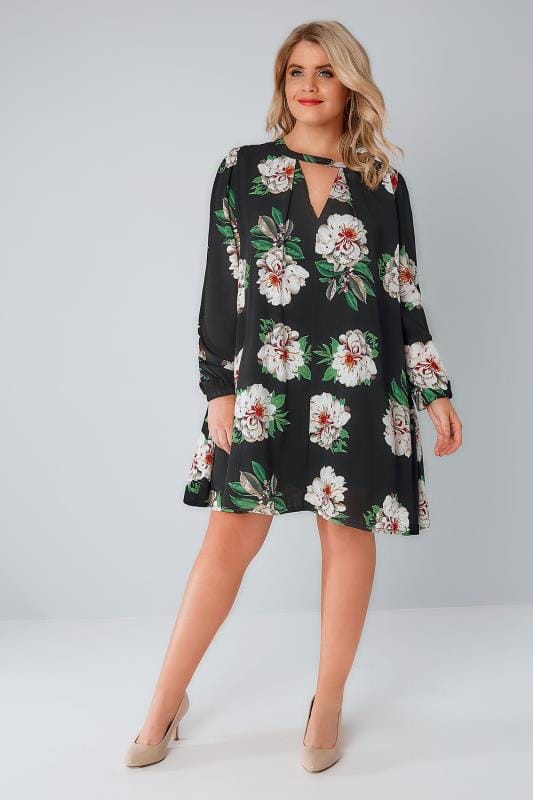 PRASLIN Black & Multi Floral Print Swing Dress With Choker Neckline