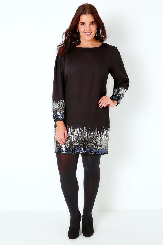 PRASLIN Black Shift Dress With Sequin Shimmer Detail