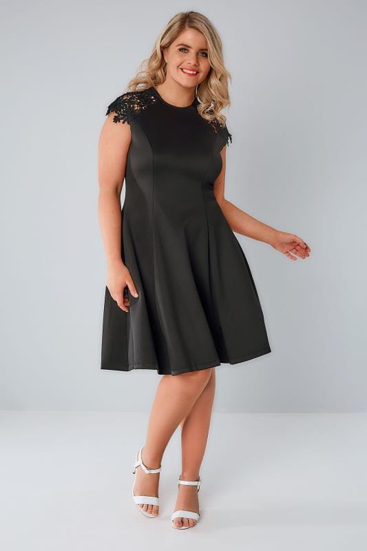 Skater Dresses PRASLIN Black Skater Dress With Lace Shoulders 138176