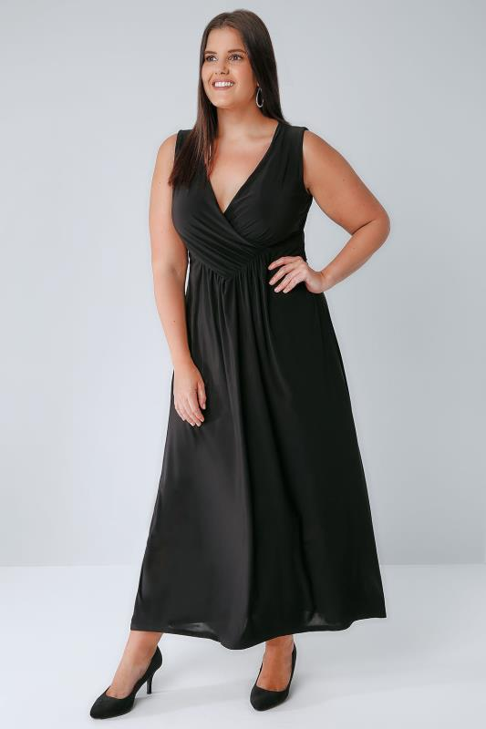 Praslin Black Slinky Wrap Front Maxi Dress, Plus Size 16 To 26-7744