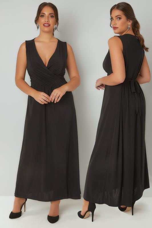 PRASLIN Black Slinky Wrap Front Maxi Dress