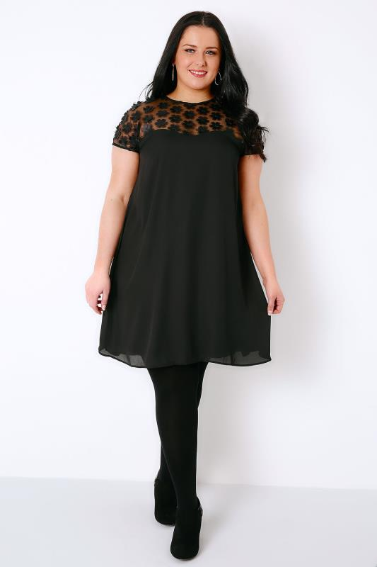 PRASLIN Black Swing Dress With Mesh Floral Panel