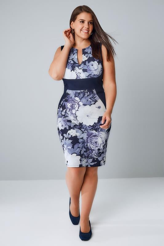 PRASLIN Blue & White Floral Print Sleeveless Pencil Dress