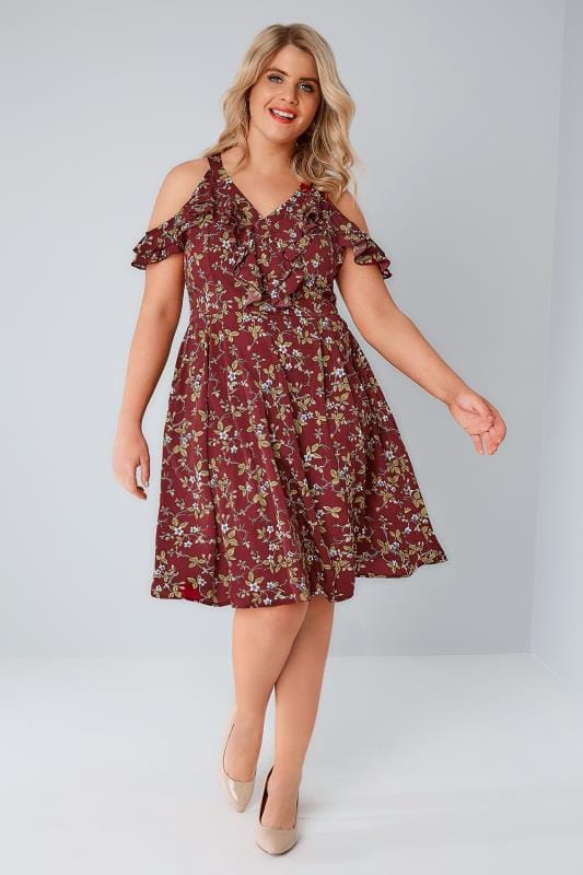 PRASLIN Burgundy Floral Print Cold Shoulder Dress