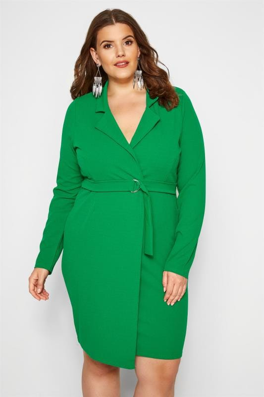 Plus Size Going Out Dresses PRASLIN Green Belted Blazer Dress