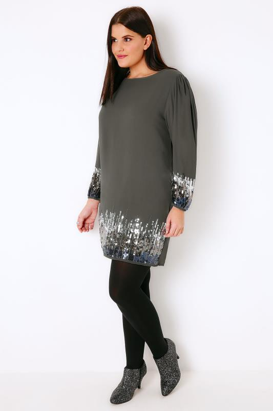 PRASLIN Grey Shift Dress With Sequin Shimmer Detail, Plus size 16 ...