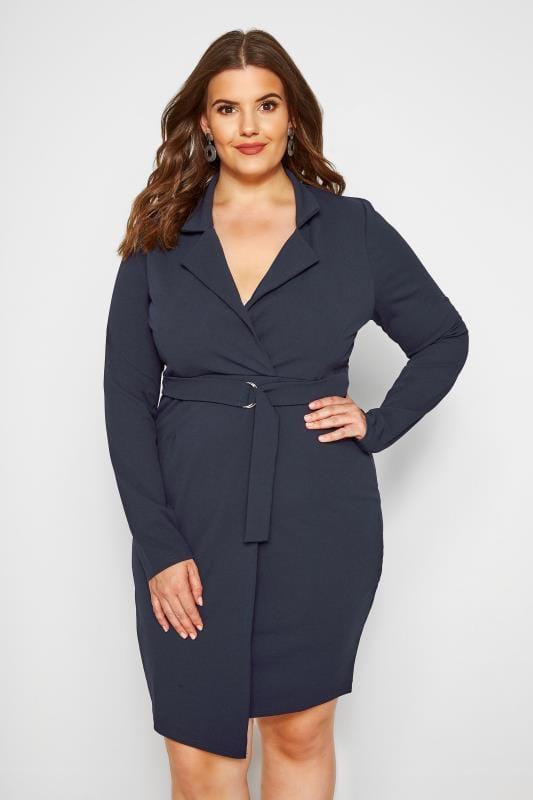 Plus Size Going Out Dresses PRASLIN Navy Belted Blazer Dress