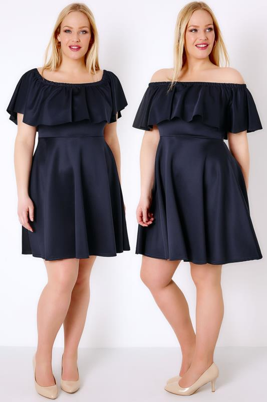 PRASLIN Navy Frill Bardot Skater Dress