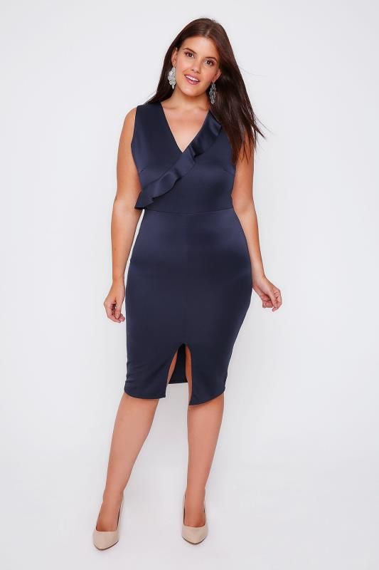 PRASLIN Navy Satin Bodycon Midi Dress