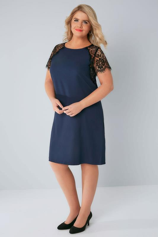 PRASLIN Navy Shift Dress with Lace Sleeves