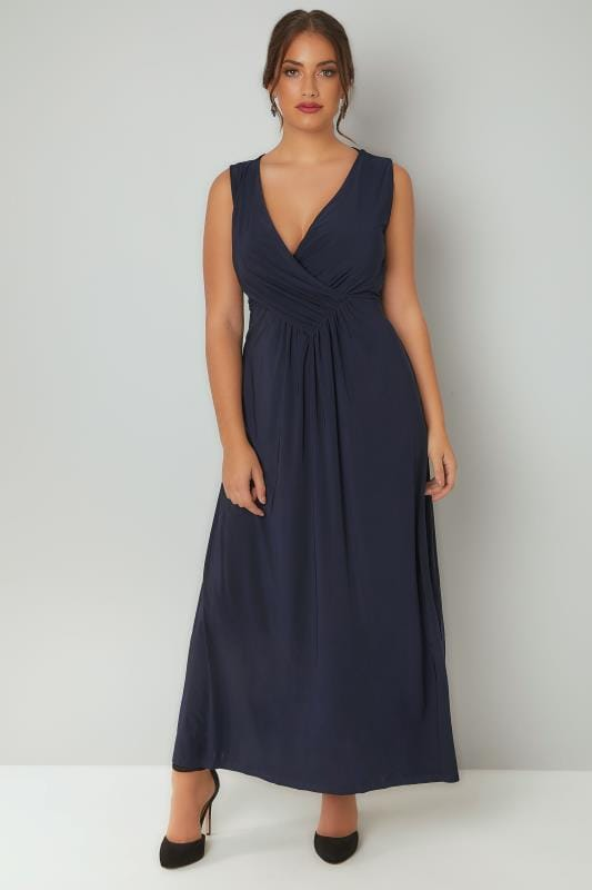 PRASLIN Navy Slinky Wrap Front Maxi Dress