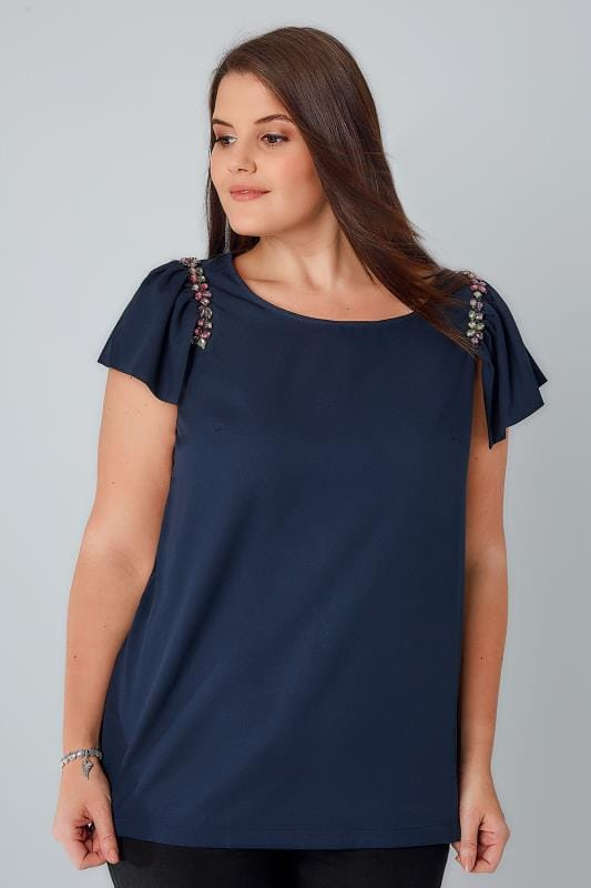 PRASLIN Navy Top With Jewel Embellished Cap Sleeves