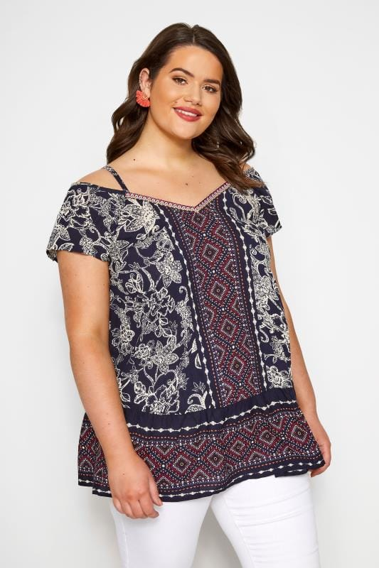 Plus Size Bardot & Cold Shoulder Tops Navy Mixed Print Cold Shoulder Top
