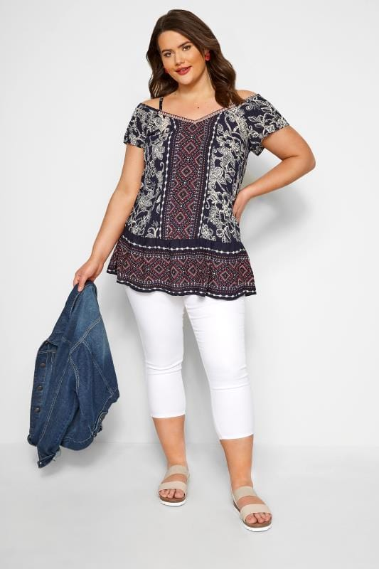 Navy Mixed Print Cold Shoulder Top